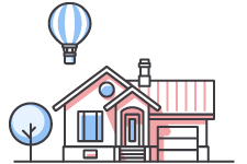 Graphic of a single-story home