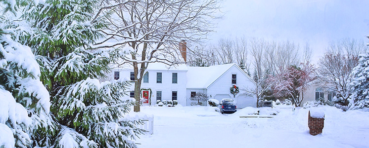 cozy snow-covered home